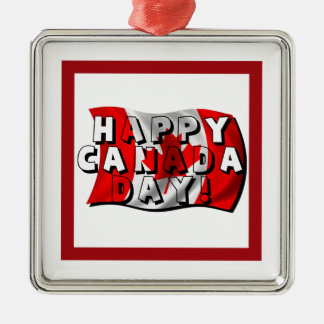 Happy Canada Day Flag Text with Canadian Flag Christmas Tree Ornaments