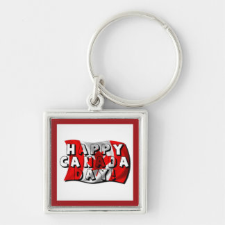 Happy Canada Day Flag Text with Canadian Flag Keychain