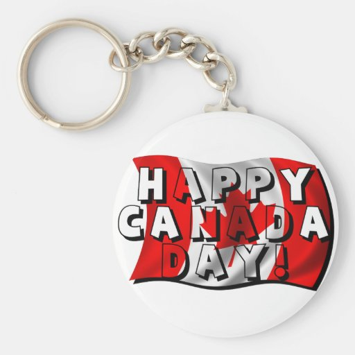 Happy Canada Day Flag Text with Canadian Flag Key Chains