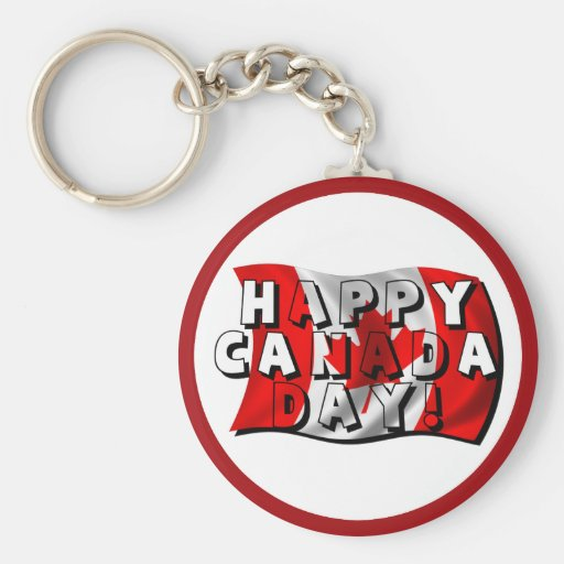 Happy Canada Day Flag Text with Canadian Flag Key Chain