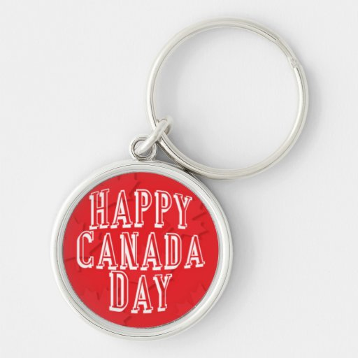 Happy Canada Day on Red Maple Leaf Background Keychain