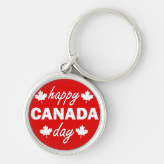 Happy Canada Day on Red Silver-Colored Round Key Ring