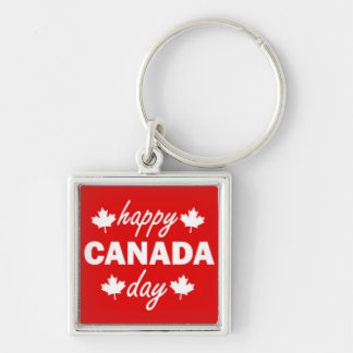 Happy Canada Day on Red Silver-Colored Square Key Ring