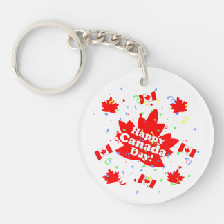 Happy Canada Day Party Single-Sided Round Acrylic Key Ring