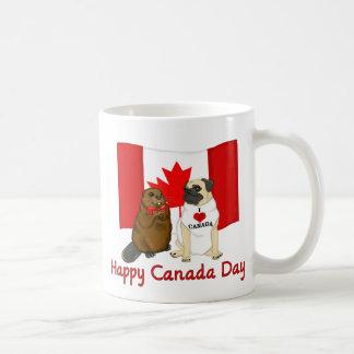 Happy Canada Day Pug and Beaver Pal Tees, Gifts Basic White Mug
