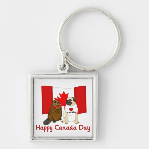 Happy Canada Day Pug and Beaver Pal Tees, Gifts Key Chain