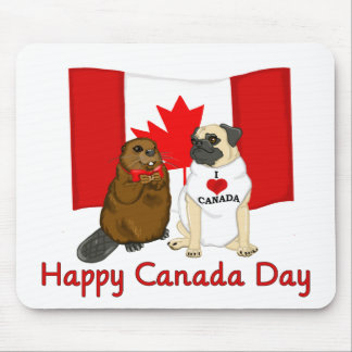 Happy Canada Day Pug and Beaver Pal Tees Gifts Mouse Pads