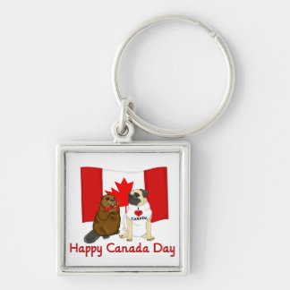 Happy Canada Day Pug and Beaver Pal Tees, Gifts Silver-Colored Square Key Ring