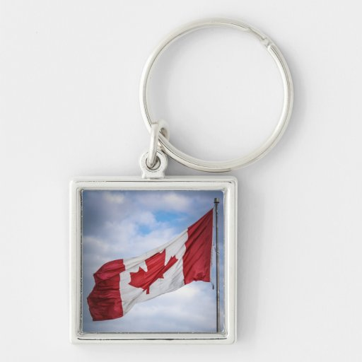 Happy Canada Day Red and White Canadian Flag Key Chain