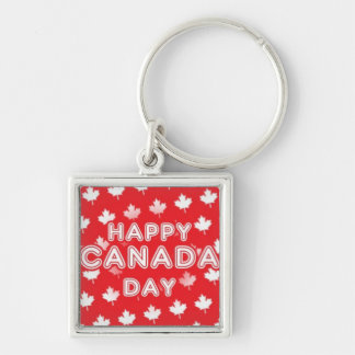 Happy Canada Day Silver-Colored Square Key Ring