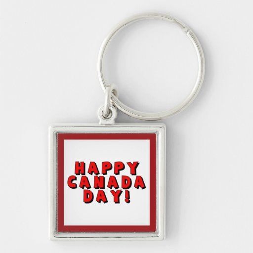 Happy Canada Day Text Image Key Chain