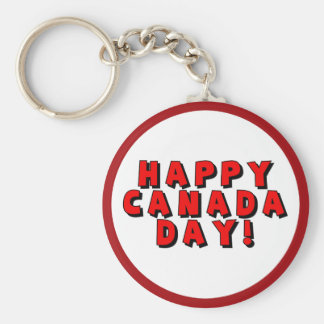 Happy Canada Day Text Image Keychains