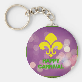 Happy Carnival with Bokeh Lights Keychain