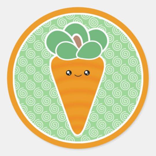 Happy Carrot Kawaii Classic Round Sticker