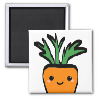 Happy carrot square magnet