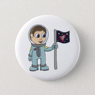 Happy Cartoon Astronaut Holding Rocket Flag 6 Cm Round Badge