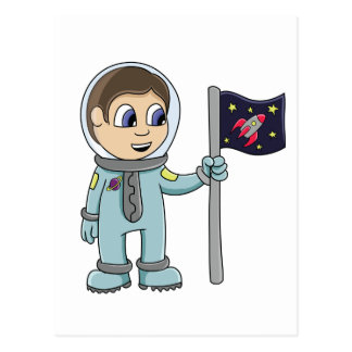 Happy Cartoon Astronaut Holding Rocket Flag Postcards