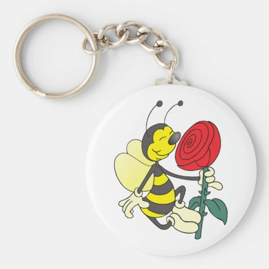 Happy Cartoon Bee Holding and Smelling a Red