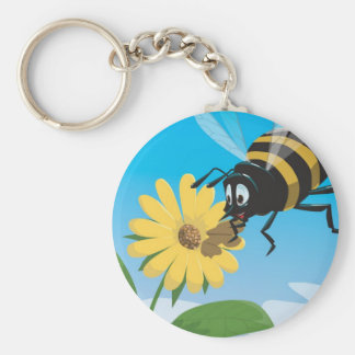 Happy cartoon bee with yellow flower basic round button key ring