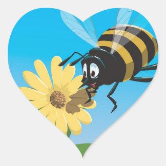Happy cartoon bee with yellow flower heart sticker