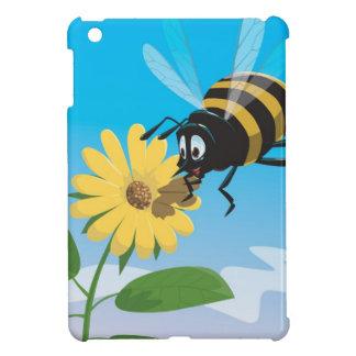 Happy cartoon bee with yellow flower iPad mini cover