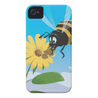 Happy cartoon bee with yellow flower iPhone 4 cover