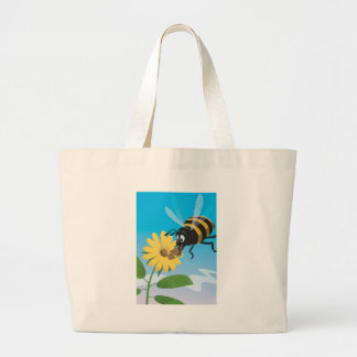 Happy cartoon bee with yellow flower large tote bag