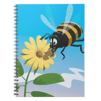 Happy cartoon bee with yellow flower spiral notebook