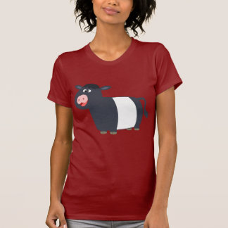 Happy Cartoon Belted Galloway Cow Women T-Shirt