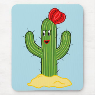 Happy Cartoon Cactus Gal (Blue Background) Mousepad