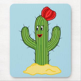 Happy Cartoon Cactus Gal (Blue Background) Mousepad