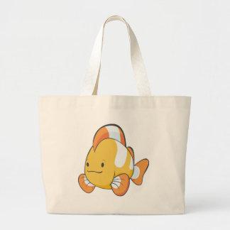 Happy Cartoon Clownfish Large Tote Bag