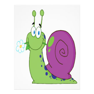 happy cartoon colorful snail with flower flyer