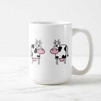 Happy Cartoon Cows Basic White Mug