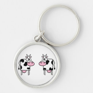 Happy Cartoon Cows Silver-Colored Round Key Ring