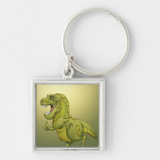 Happy Cartoon Dinosaur Giving the Thumbs Up! Silver-Colored Square Key Ring