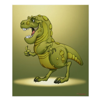 Happy Cartoon Dinosaur Giving the Thumbs Up Poster