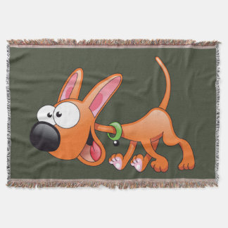 happy cartoon dog throw blanket
