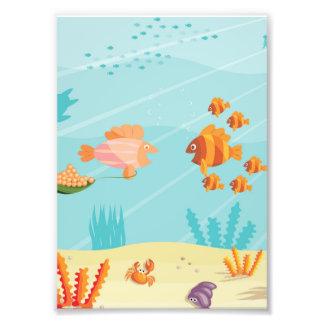 Happy Cartoon Fish Families Art Photo