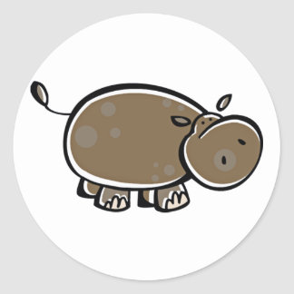 Happy Cartoon Hippo Classic Round Sticker
