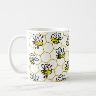 happy cartoon honey bees coffee mug