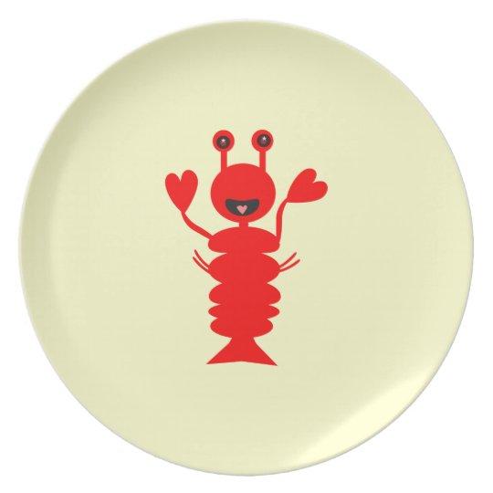 Happy Cartoon Lobster Plate