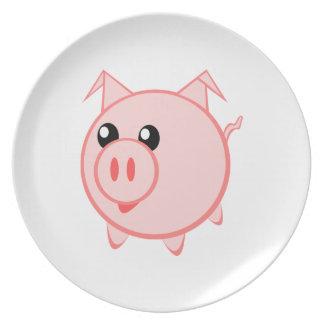 Happy Cartoon Pig Plates