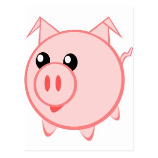 Happy Cartoon Pig Postcard