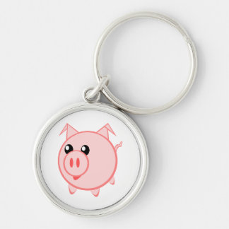 Happy Cartoon Pig Silver-Colored Round Key Ring