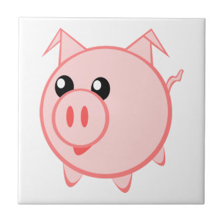 Happy Cartoon Pig Small Square Tile