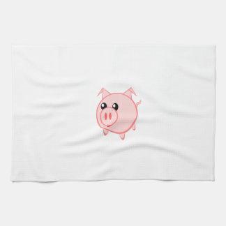 Happy Cartoon Pig Tea Towel