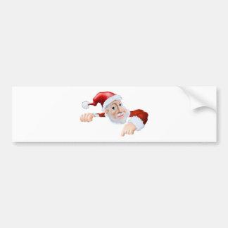 Happy cartoon Santa pointing down Bumper Sticker