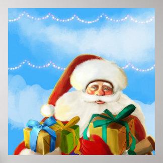 happy cartoon santa Poster
