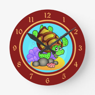 Happy Cartoon Sea Turtle with Bright Red and Gold Round Clock